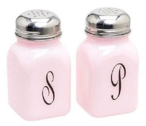 Mosser Glass Pink Milk Retro Vintage Style Monogrammed Salt & Pepper Shakers Set