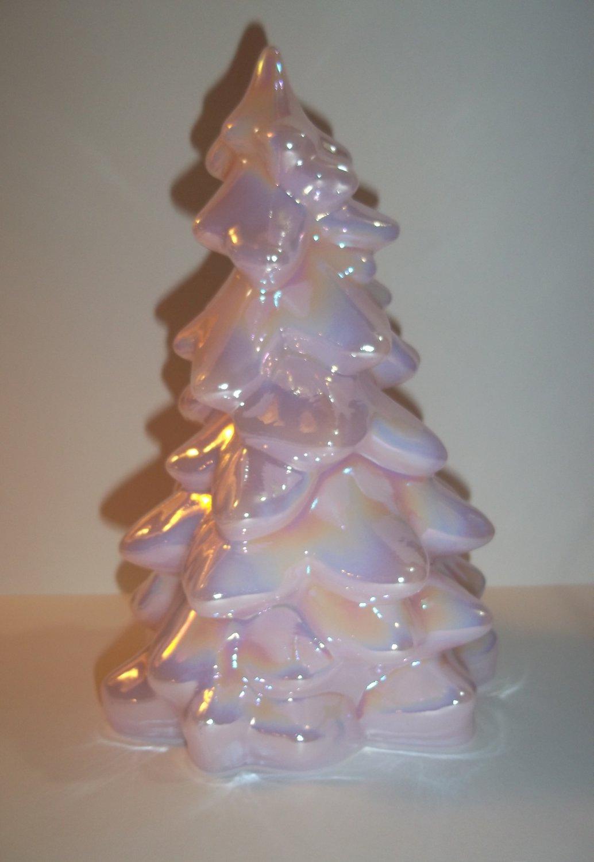 "Mosser Glass OPAQUE PINK CARNIVAL 5.5"" Medium CHRISTMAS TREE Figurine"
