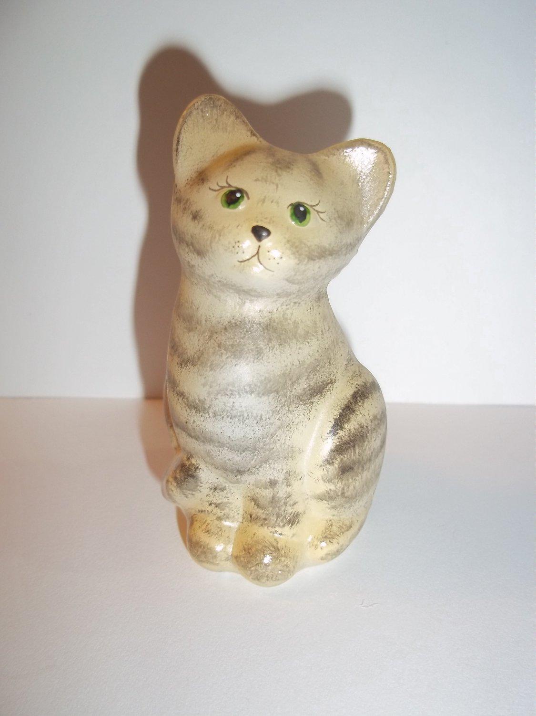 Fenton Glass Vanilla Tabby Natural Mini Kitten Cat Figurine Special Order Ltd Ed