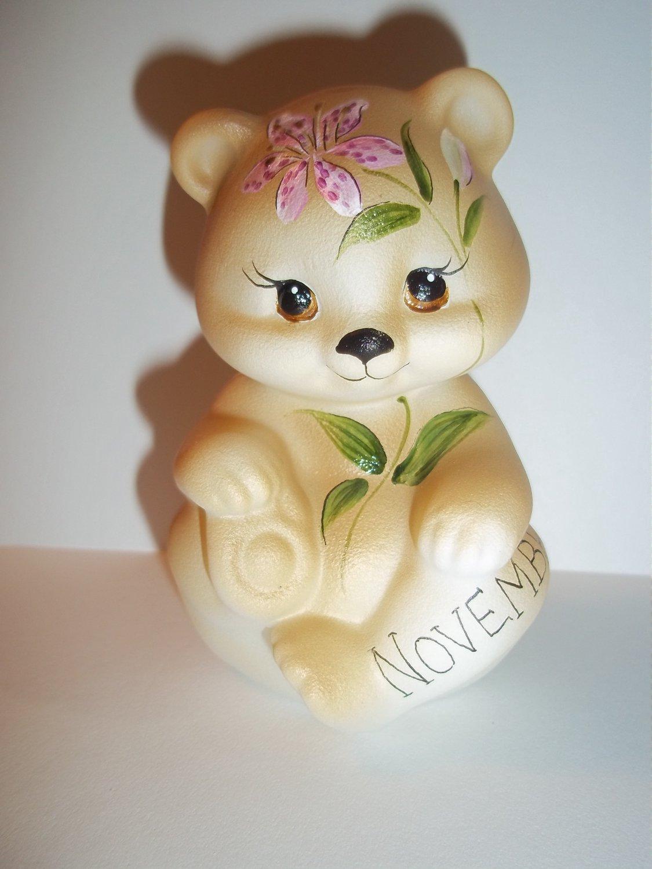 Fenton Glass November Birthday Stargazer Lily BEAR Figurine GSE K Barley #4