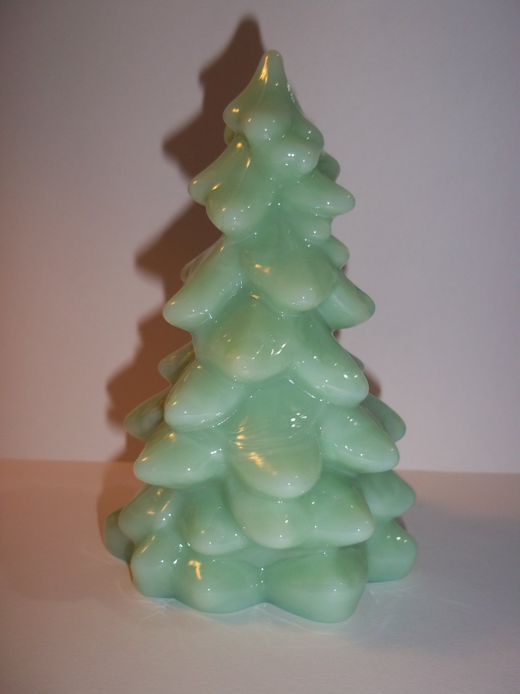 "Mosser Glass Jade Jadeite Green 8"" Large CHRISTMAS TREE Figurine Holiday"