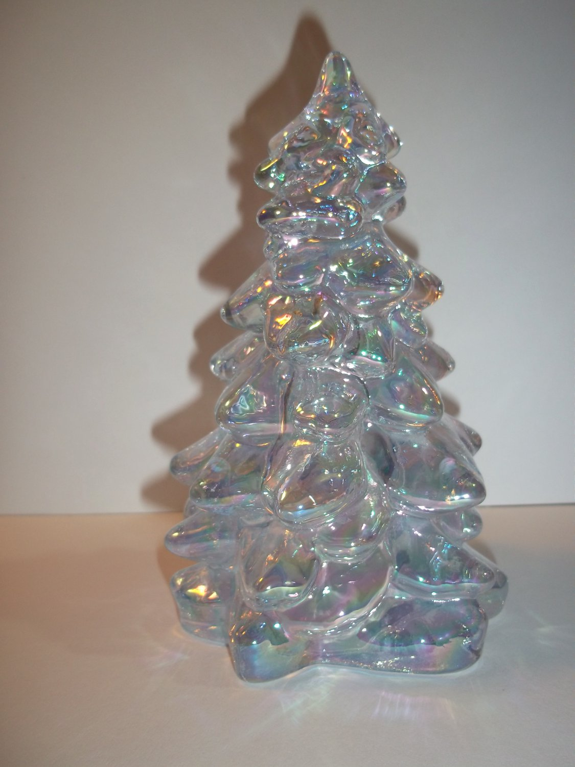 "Mosser Glass Heather Bloom Carnival 5.5"" CHRISTMAS TREE Figurine Holiday Made In USA"