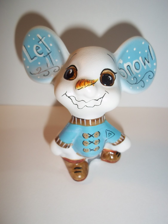 "Fenton Glass ""Let It Snow"" Snowman Mouse Figurine GSE Ltd Ed Kim Barley #15/20"