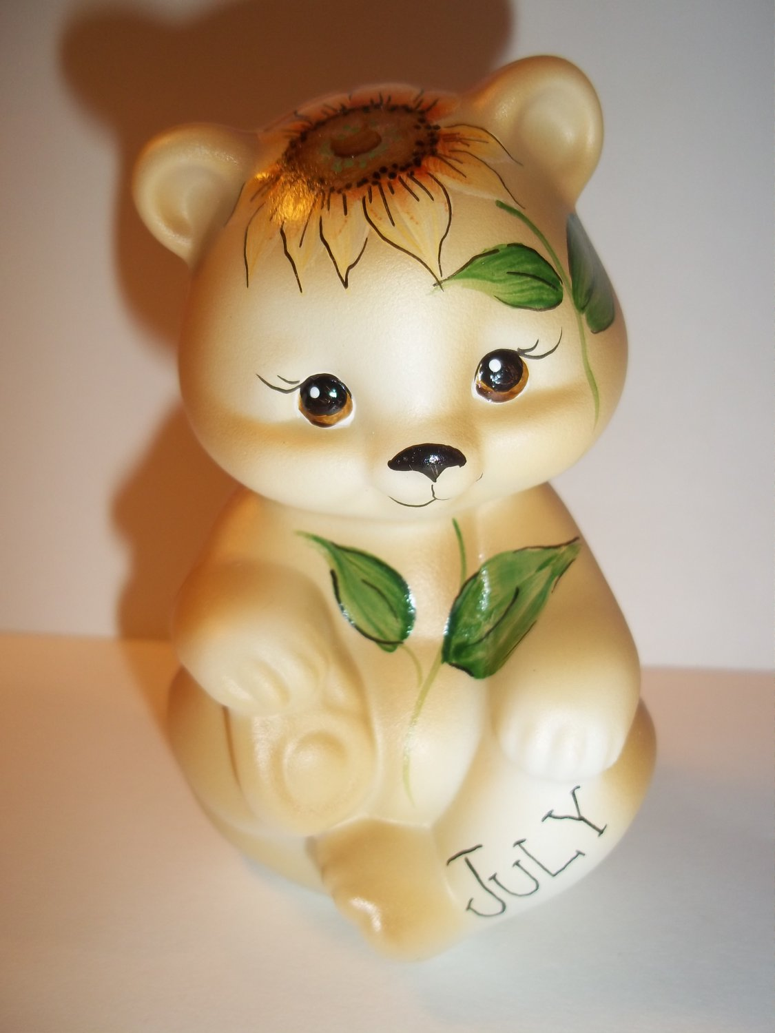 Fenton Glass July Birthday Sunflower Sitting BEAR Figurine GSE K Barley Limited Edition #21