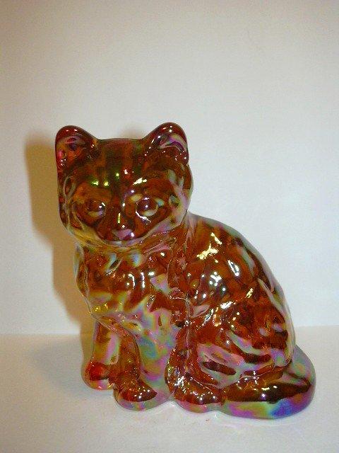 Mosser Glass Marigold Amber Carnival Persian Cat Kitten Figurine Paperweight