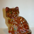 Mosser Glass Marigold Amber Carnival Persian Cat Kitten Figurine Paperweight
