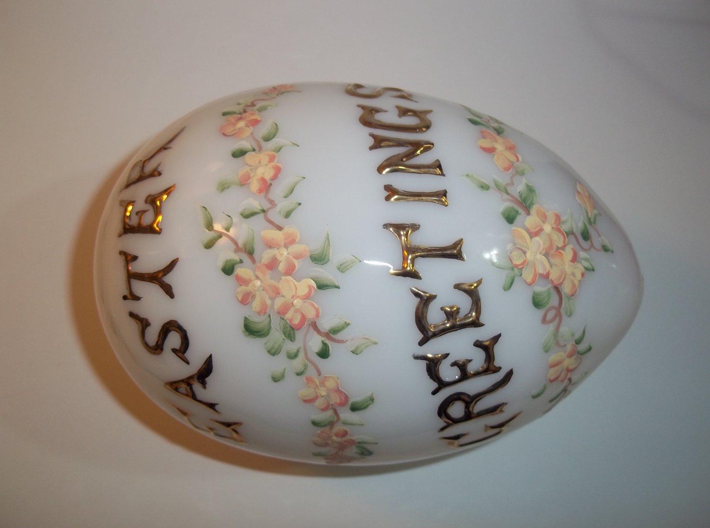 Mosser Glass MILK WHITE Hollow Blown Peach Florals EASTER GREETINGS EGG