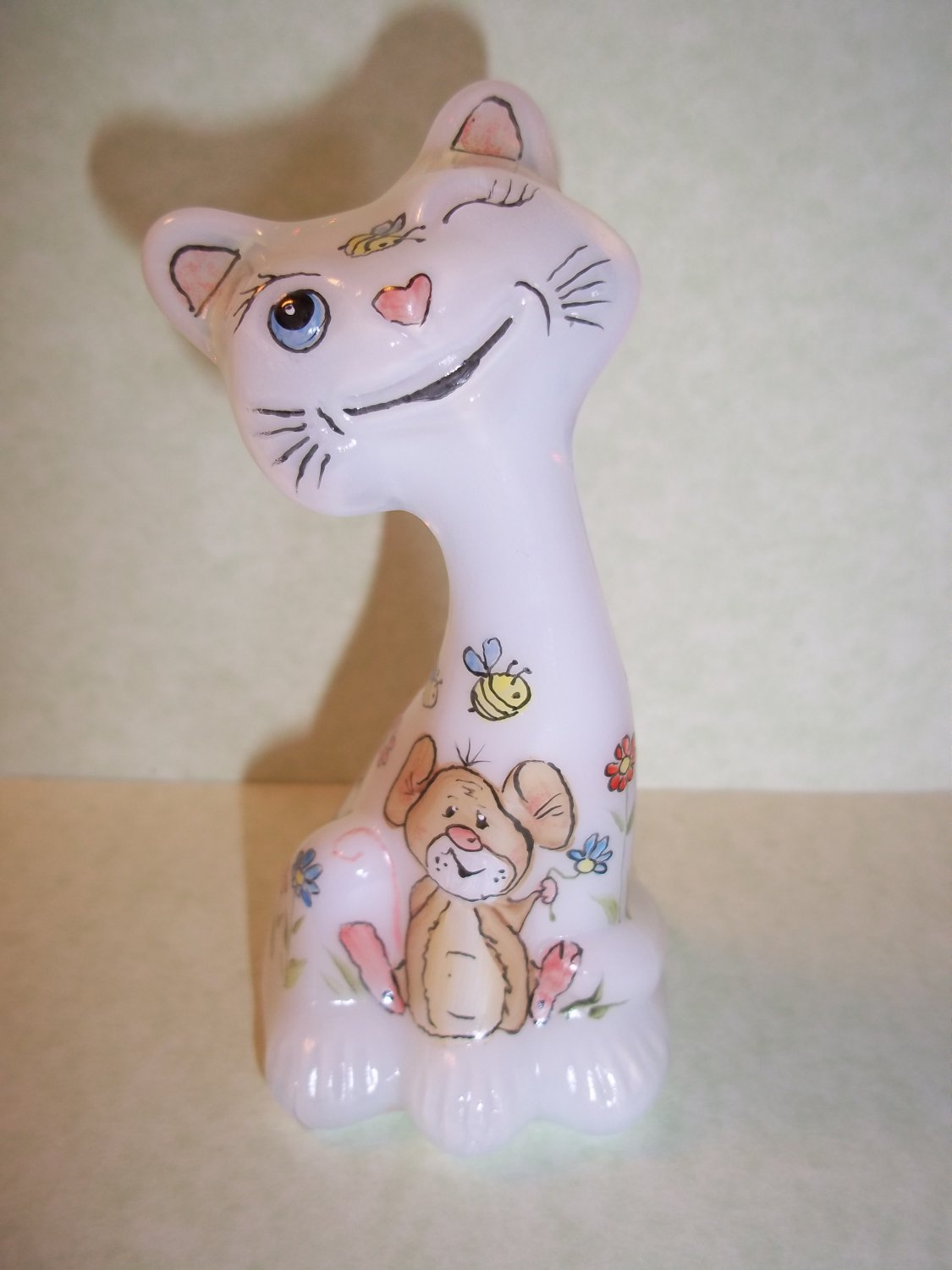 "Fenton Glass 4"" Whimsical Spring Floral Mouse Happy Kitty Cat FAGCA Ltd Ed of 20"