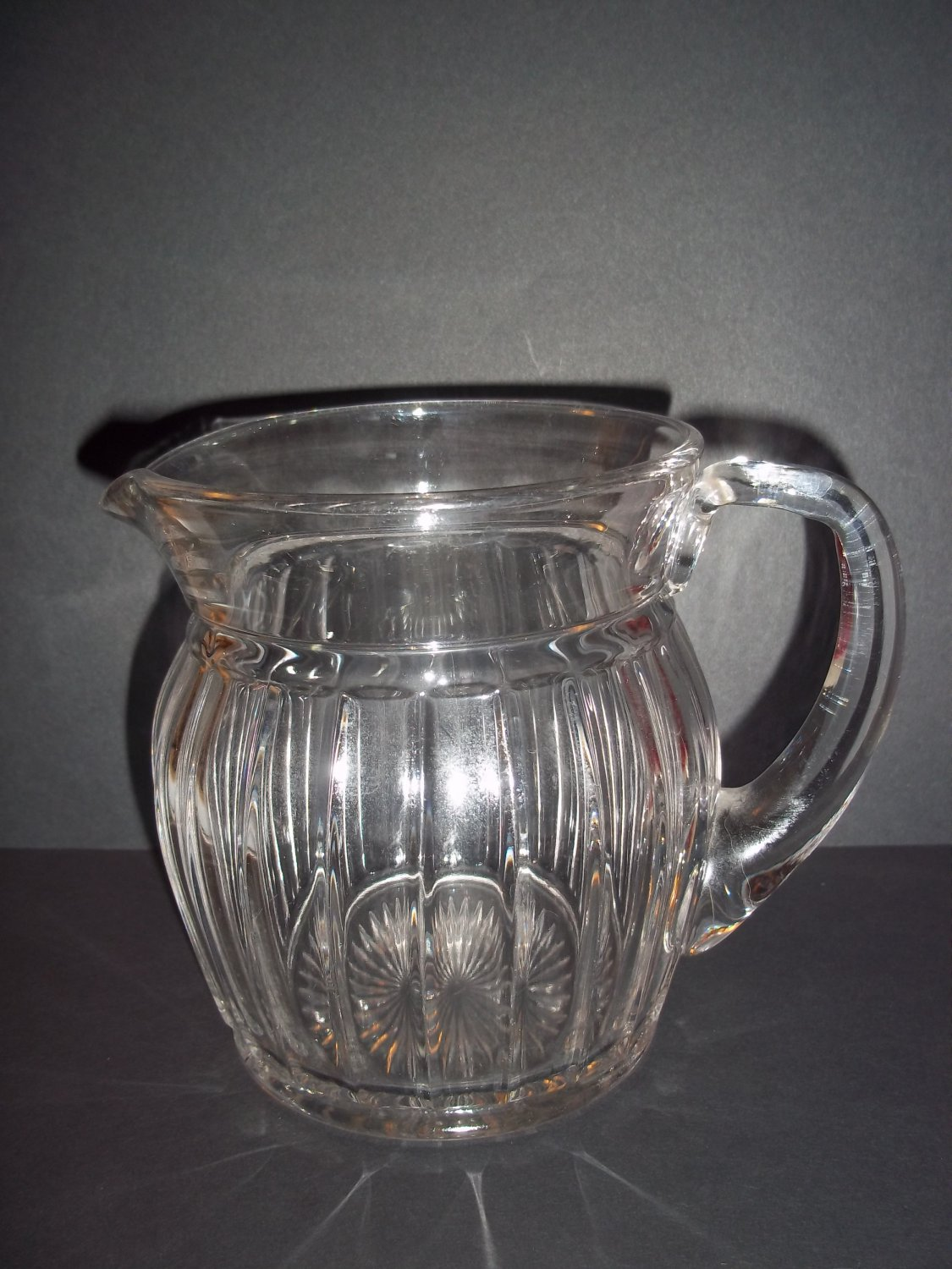 "Heisey Glass Small Narrow Panel Crystal Pitcher Cream Pitcher Marked 4.5"" Tall"