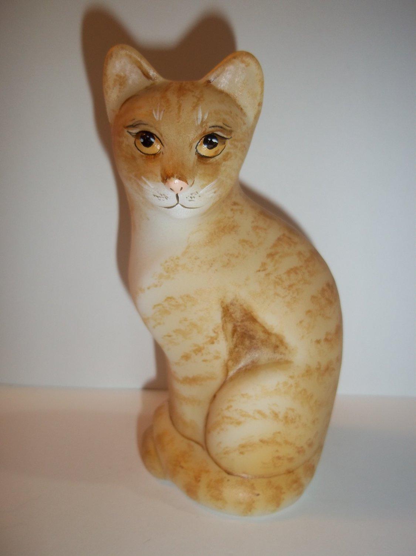 Fenton Glass Naural Orange Tabby Stylized Cat Kitten GSE Ltd Ed M Kibbe #2/22