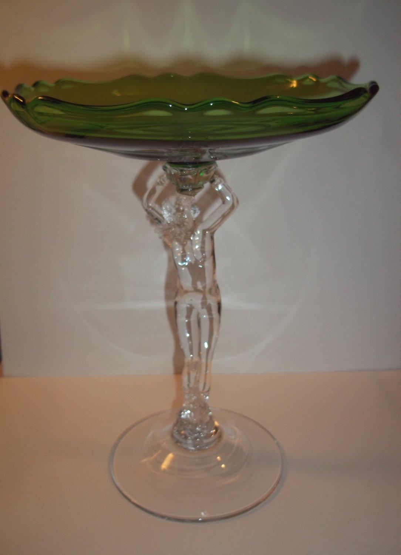 Cambridge Glass Art Deco Statuesque Nude Green Cupped Pedestal Compote