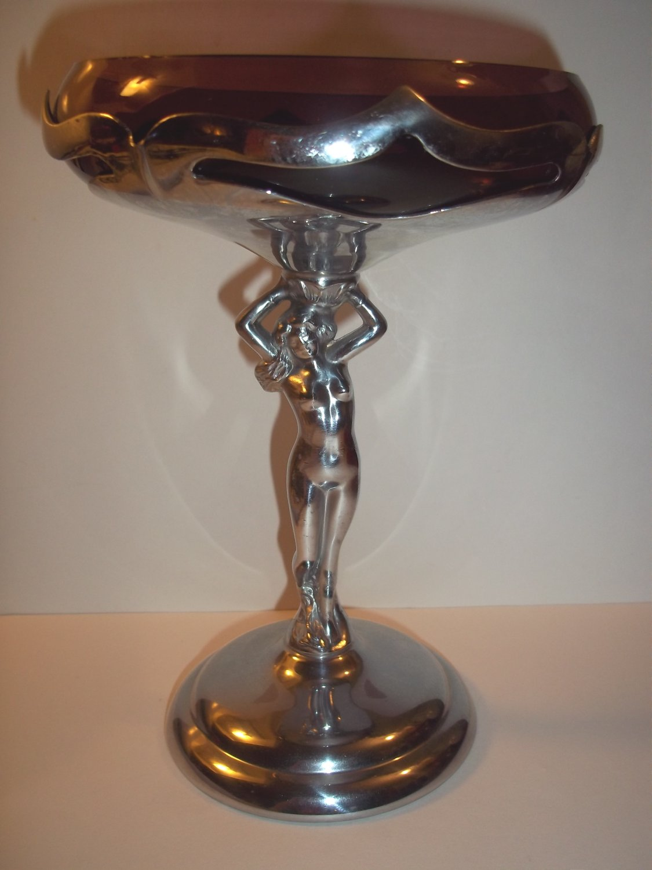Cambridge Glass Farber Bros Krome Kraft Chrome Nude Amethyst Statuesque Compote