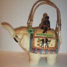 Japanese Mid Century Japan Pottery Elephant Figural Teapot Marked Bamboo Handle
