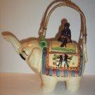 Japanese Mid Century Japan Pottery Elephant Figural Teapot Marked Bamboo Handle