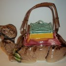Vintage Hand Painted Japan Japanese Moriyama Pottery Figural Camel Teapot with Bamboo Handle