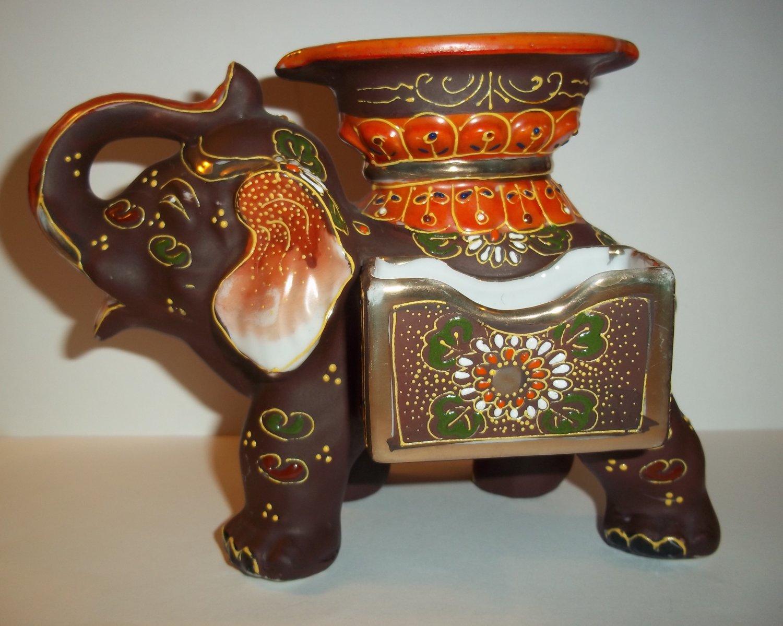 Vintage Japan Japanese Pottery Moriage Lusterware Figural Elephant Cigarette Match Holder Ashtray