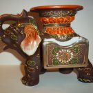 Vintage Japan Japanese Pottery Moriage Lusterware Figural Elephant Cigarette Match Holder Ashtray