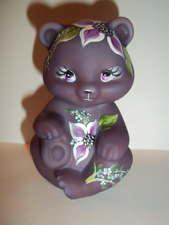 Fenton Glass Eggplant Purple Flora Bear Figurine Ltd Ed GSE M Kibbe #9/14