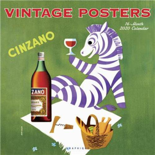 "Vintage Advertising Posters 2020 Wall Calendar Art Deco Nostalgia 12' x 12"""
