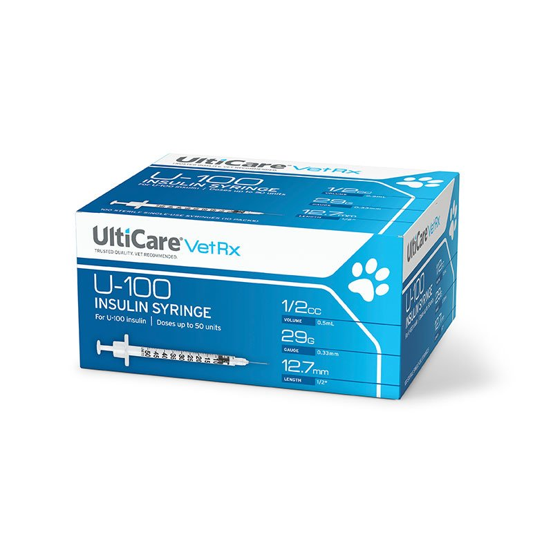 UltiCare VetRx U-100 Veterinarian Diabetic Pet Insulin Syringes 29G, 1/2�, 1/2cc - 100ct
