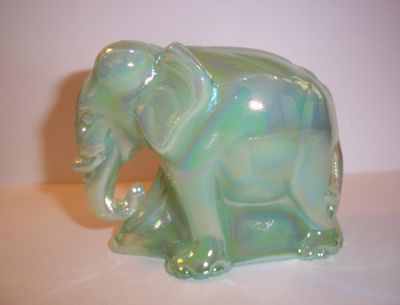 Fenton Glass Jadeite Jade Green Carnival Working Worker Elephant Figurine NFGS