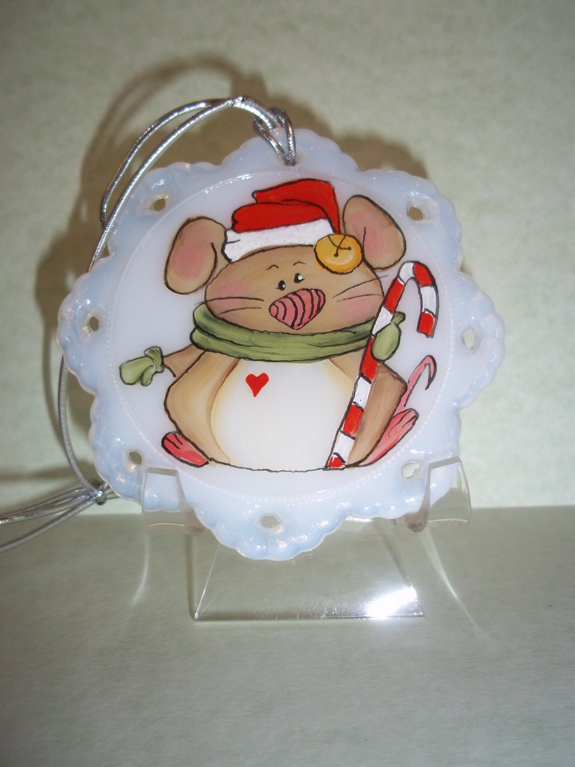 Fenton Glass Santa Mouse Christmas Ornament FAGCA Exclusive Ltd Ed of 19 Pieces