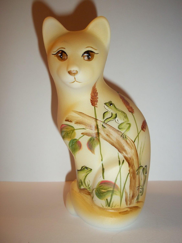 Fenton Glass Frogs & Cattails Stylized Cat Figurine Ltd Ed GSE M. Kibbe #15/15
