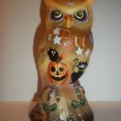 "Fenton Glass ""Boo"" Halloween Owl Figurine w Black Cat Pumpkin LE #5/21 K Barley"