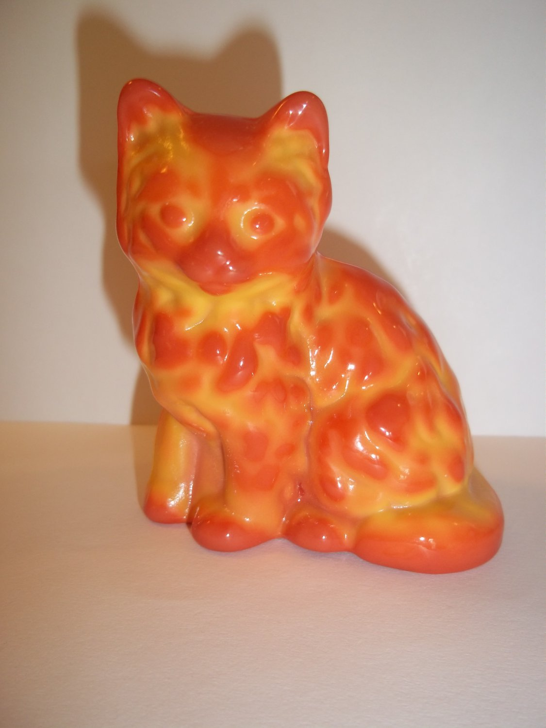Mosser Handmade Glass Pumpkin Orange Swirl Persian Cat Kitten Figurine