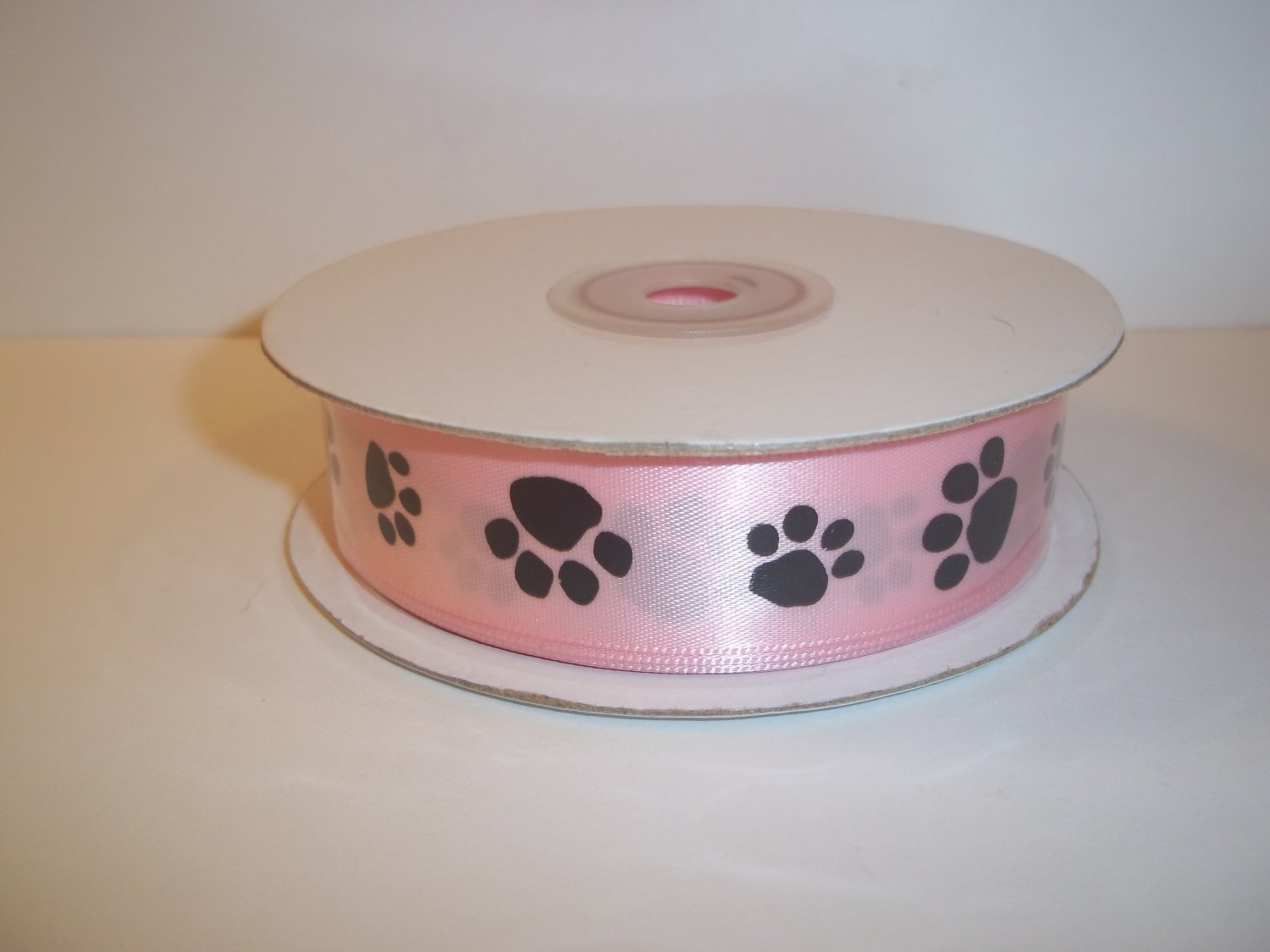 "Pink Satin Fabric Pawprint Crafting Gift RIbbon 7/8"" x 25 Yards New In Package"