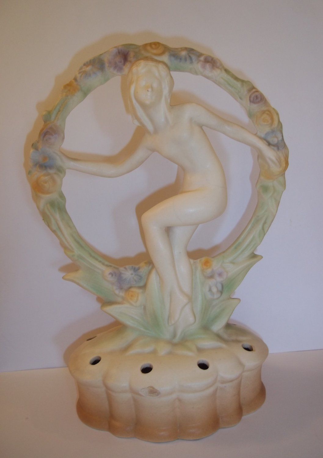 Pottery Nude Nymph In Circle Garland Art Deco Nouveau Flower Frog Germany