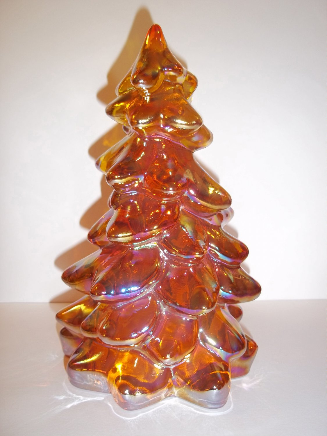 "Mosser Glass MARIGOLD CARNIVAL 8"" CHRISTMAS TREE Figurine HOLIDAY Made In USA!"