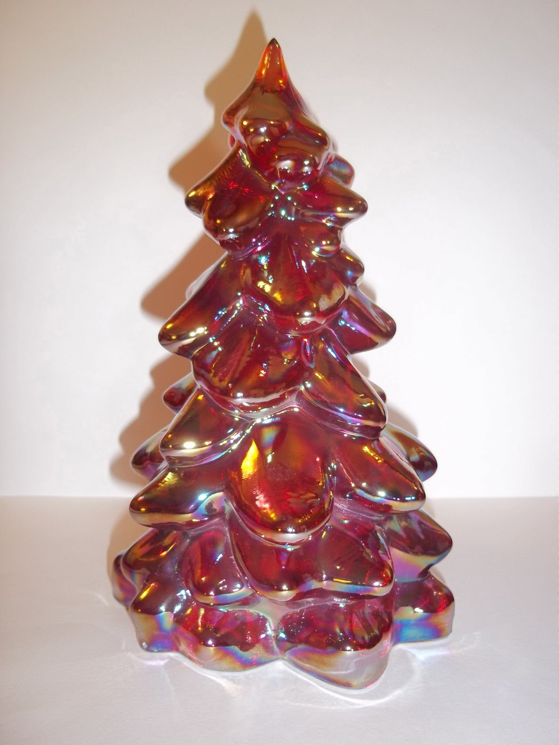 """Mosser Glass RUBY RED CARNIVAL 8"""" CHRISTMAS TREE Figurine HOLIDAY Made In USA!"""