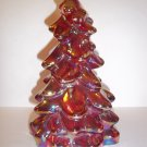 "Mosser Glass RUBY RED CARNIVAL 8"" CHRISTMAS TREE Figurine HOLIDAY Made In USA!"