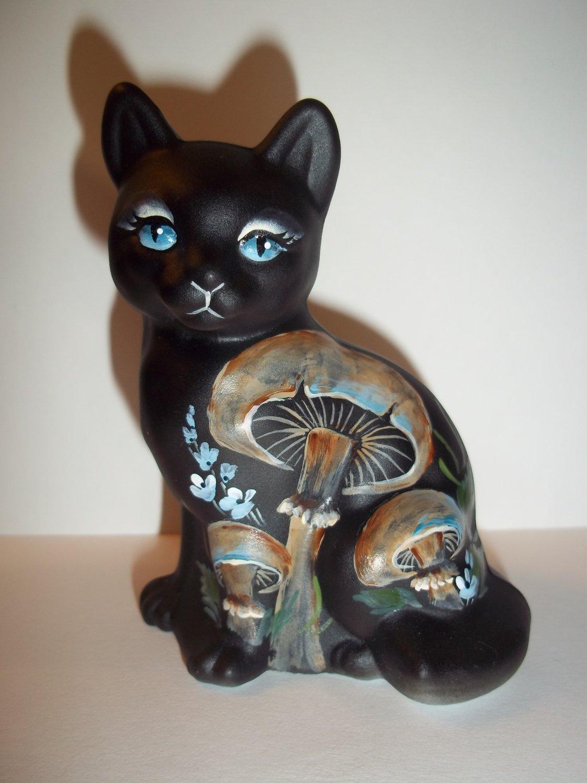 Fenton Glass Black Cat Blue Eyes & Mushroom Sitting Cat GSE Ltd Ed M Kibbe #4/4