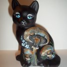 Fenton Glass Black Cat Blue Eyes & Mushroom Sitting Cat GSE Ltd Ed M Kibbe #4/4