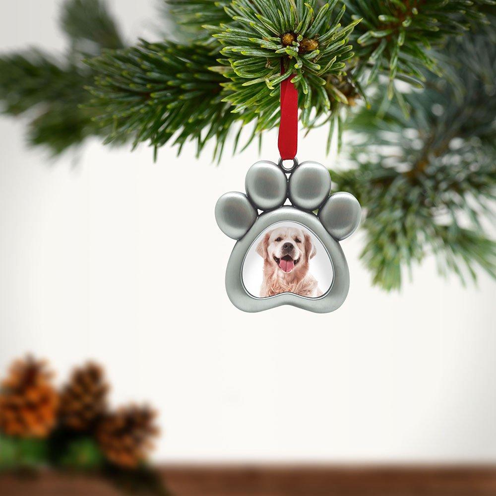 Pawprint Shaped Silver Pet Cat Dog Photo Frame Christmas Holiday Ornament Kit