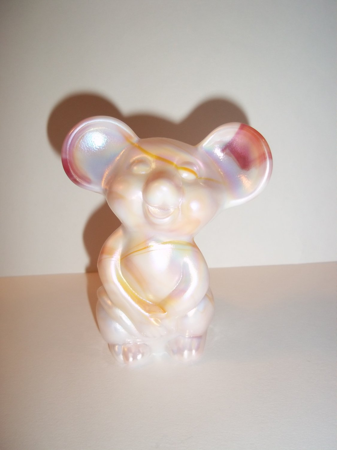 Fenton Glass Ruby Red & White Slag Carnival Mouse Figurine NFGS Exclusive