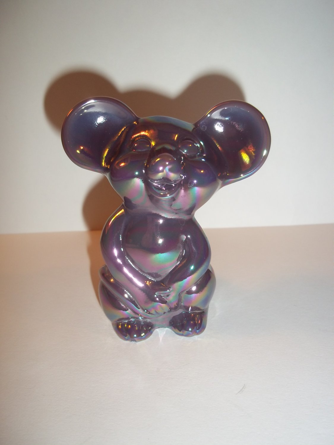 Fenton Glass Eggplant Purple Carnival Iridized Mouse Figurine NFGS Exclusive