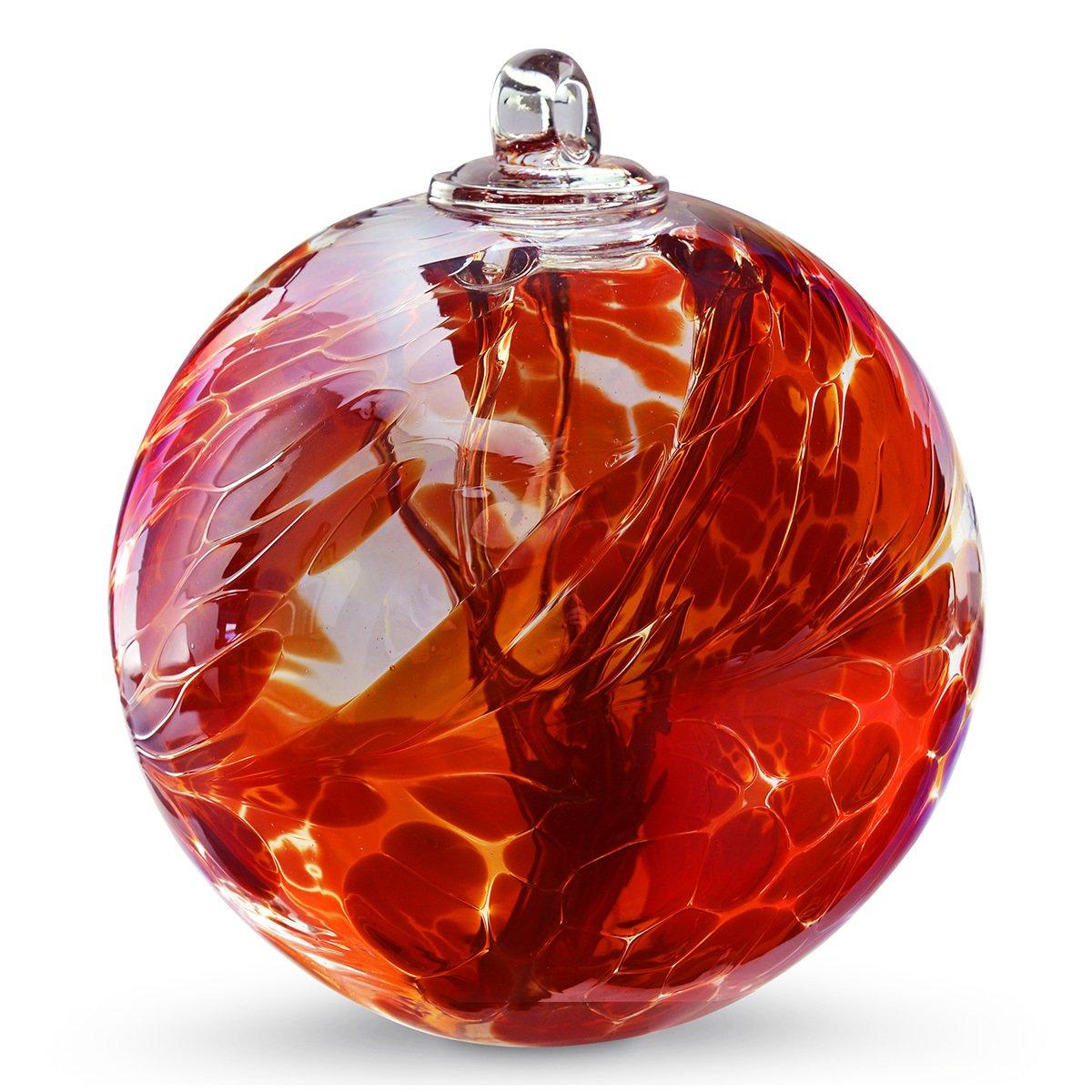 """6"""" European Art Glass Spirit Tree Iridescent Garnet Red Witch Ball Kugel"""