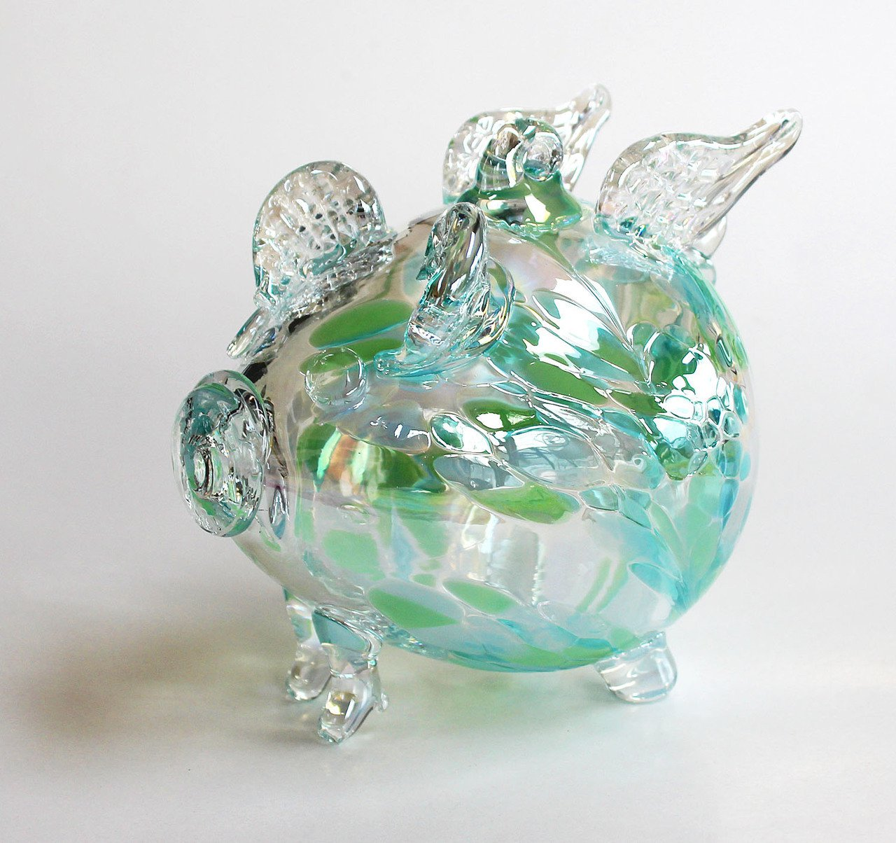 "European Art Glass ""Bubbles"" Green Blue Flying Pig Ornament Witch Ball Kugel"