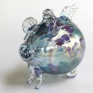 "European Art Glass ""Sweetie"" Aqua Lavender Flying Pig Ornament Witch Ball Kugel"