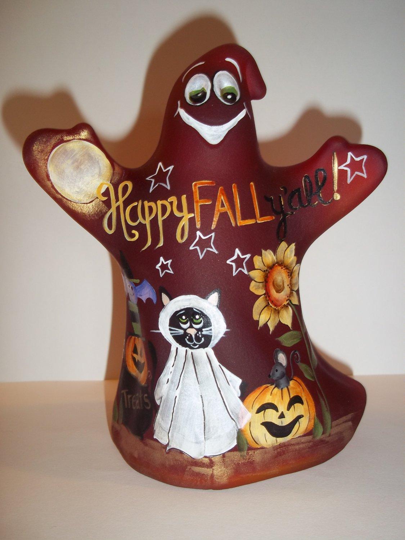 """Fenton Glass """"Happy Fall Y'all"""" Halloween Ghost Figurine LE #1/12 Kim Barley"""