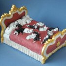 Albert Dubout Many Cats Sleeping on Gold & Red Fancy Bed Statue Sculpture