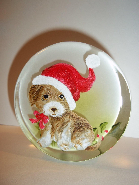 Fenton Glass Santa Puppy Dog Christmas Paperweight Figurine Ltd Ed M Kibbe #5/13