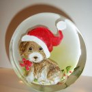 Fenton Glass Santa Puppy Dog Christmas Paperweight Figurine Ltd Ed M Kibbe #5/13