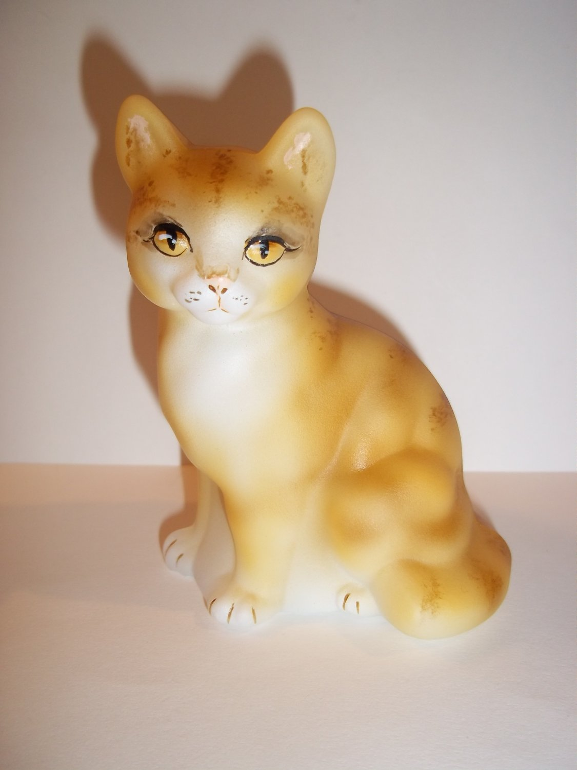Fenton Glass Naural Orange Tabby Sitting Cat GSE Ltd Ed M Kibbe #7/17