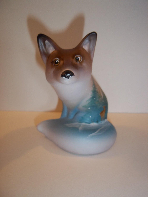 Fenton Glass Autumn Leaf Winter Deer Fox Figurine Ltd Ed GSE M. Kibbe #1/7