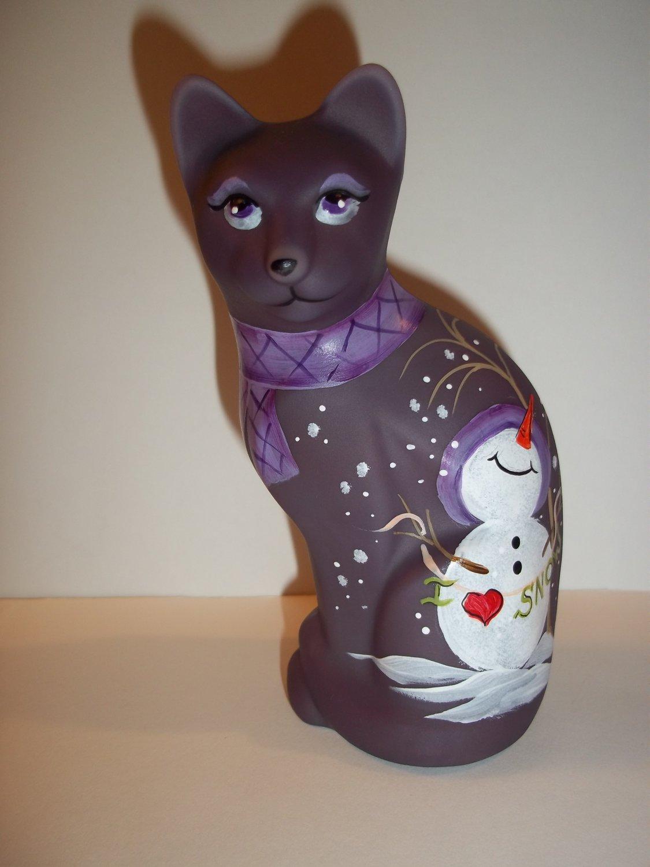 Fenton Glass Purple Christmas Happy Snowman Stylized Cat Ltd Ed GSE Kibbe #4/4