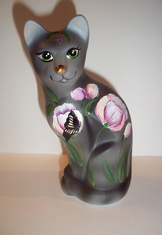 Fenton Glass Gray Tabby Tulips & Butterfly Stylized Cat Ltd Ed GSE K Barley #4/8